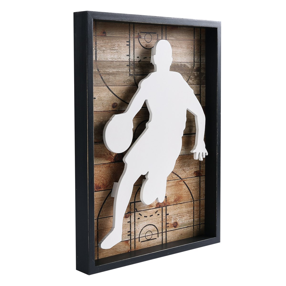 Amazon com nikky home outdoors sports basketball wooden framed wall art decor 12 x 16 kitchen dining
