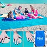 VI AI Beach Mat Sand Proof Blanket,Sand Free Beach Mat Easy to Clean Perfect for The Beach - Dirt & Dust Disappear 79'' x 79'' Large