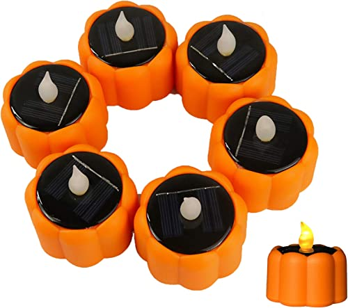 Halloween LED Pumpkin Lights Candles – Waterproof Rechargeable Flameless LED Flickering Tealights Candles with Light Sensor for Lantern Window Outdoor Camping Emergency Home Halloween Decor