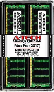 A-Tech 128GB (2 x 64GB) RAM Kit for Apple iMac Pro (2017) - DDR4 2666MHz PC4-21300 ECC LRDIMM 288-pin Memory Upgrade Kit