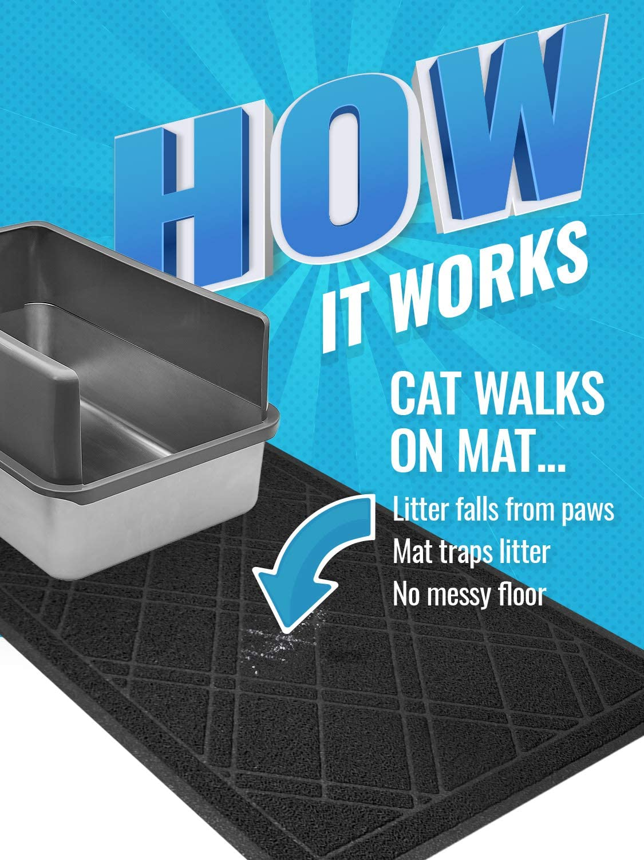 42x 36 - Brown Phthalate /& BPP Free iPrimio Jumbo Cat Litter Mat with Plaid Design