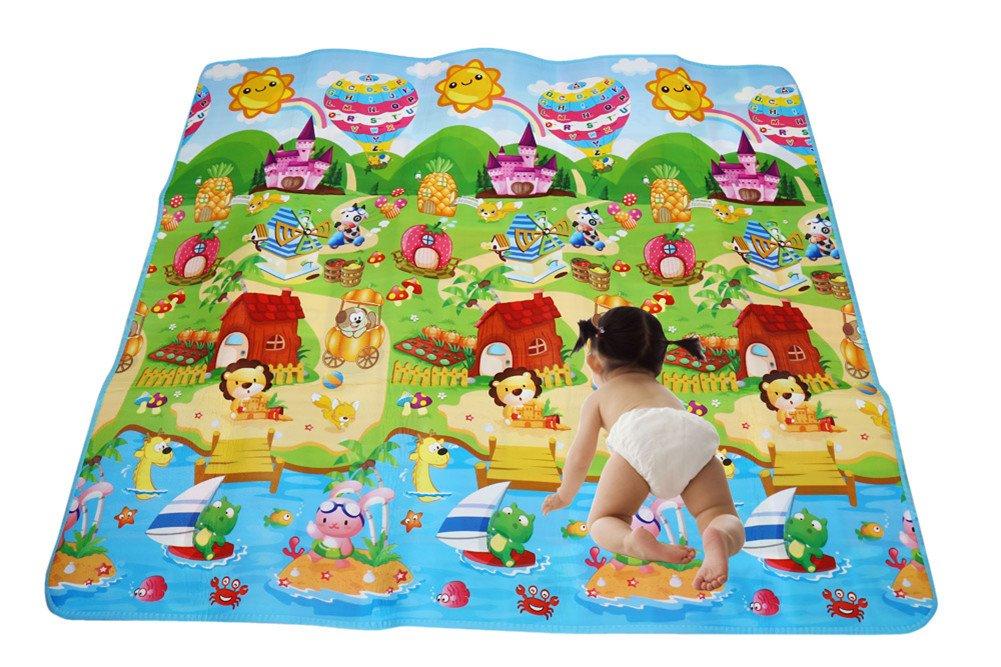 RYC Alfombra Infantil para Jugar Niños y Bebés Doble Caras Impermeable Diseño de Animal y Alfabeto 200X180CM Generic