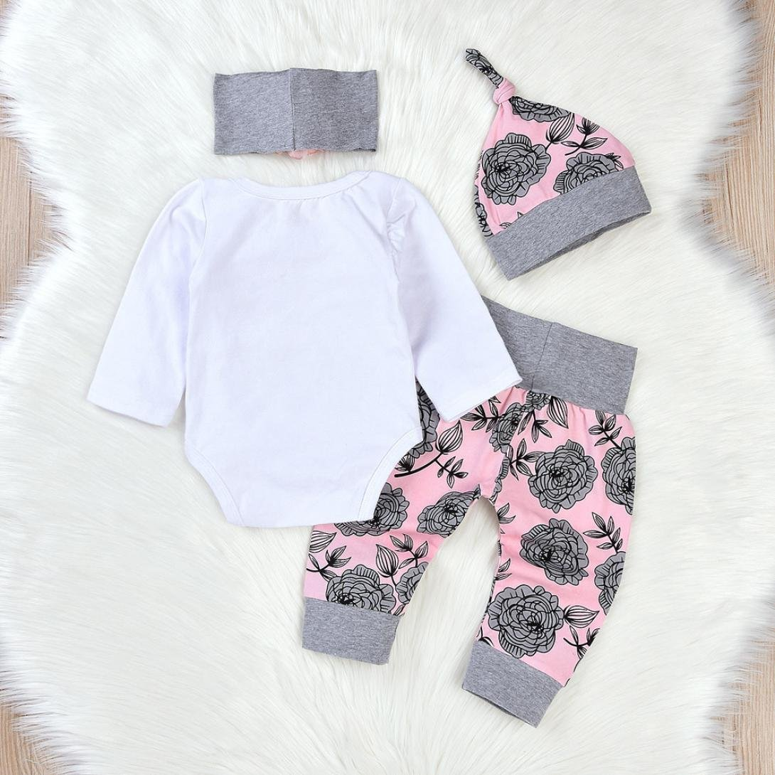 Gotd Toddler Newborn Baby Girls 4pcs Outfit Set Clothes Rompers Jumpsuit Flowers Pants Cap Headbands Autumn Winter (0-3Months, White)