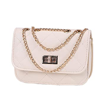Buy HDE Women s Crossbody Handbag Purse Lightweight Small with Chain Strap  (Cream) Online at Low Prices in India - Amazon.in 4faf68ea9dc0d