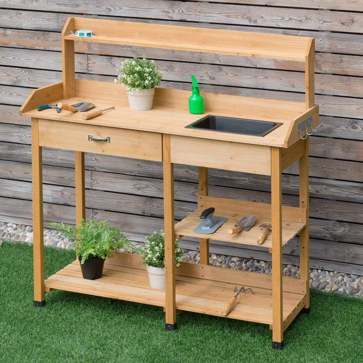 Terrific Amazon Com Wenstskufan Potting Bench Tend Potted Plants Gmtry Best Dining Table And Chair Ideas Images Gmtryco