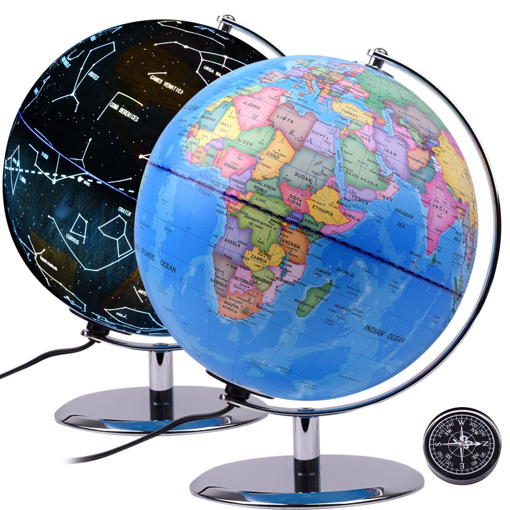 Qwork 9 inch Constellation Word Globe for Kids, 3-in-1 Desktop Illuminated Globe with Steady Steel Base, Built in LED Bulb, Night Stand Decor