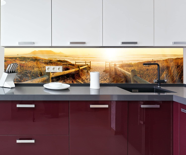 Spritzschutz Deko K/üche M0262 - Acrylglas 4mm Nischenr/ückwand wandmotiv24 K/üchenr/ückwand Sonnenuntergang Ozean Natur 160 x 50cm B x H Fliesenspiegel-Ersatz
