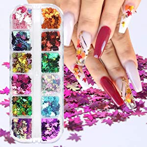 Fall Nail Art Glitters Maple Leaf Nail Sequins 12 Colors Holographic Nail Art Sticker Flakes Gold Autumn Nail Paillettes for Nail Art Decorations Manicure Tips Decor Holiday Thanksgiving Nail Art Set