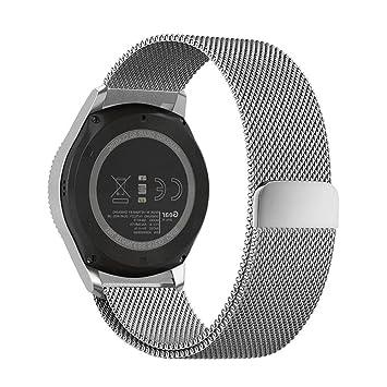 Pinhen - Correa de Repuesto de Acero Inoxidable con Imán de Liberación Rápida DE 24 mm para Sony Smartwatch 2 SW2, Suunto Traverse, Fossil Q Nate y ...