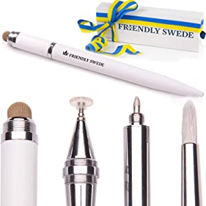 Capacitive 4-in-1 Stylus Pen with Replaceable Brush, Fiber Tip, Precision Disc + Ballpoint Pen in Box, by The Friendly Swede (White)