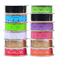 12 Roll Hollow Lace Style Decorative Washi Tape Masking Tape Sticky Adhesive Paper for Scrapbooking Phone Notebook DIY Decoration Random Color Random Pattern