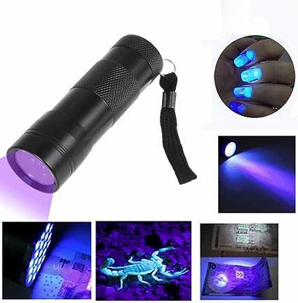 Portable Lighting 395-400nm 12 Led 1-mode Purple Light Led Flashlight Uv Light Led Lamp Torch 3* Aaa