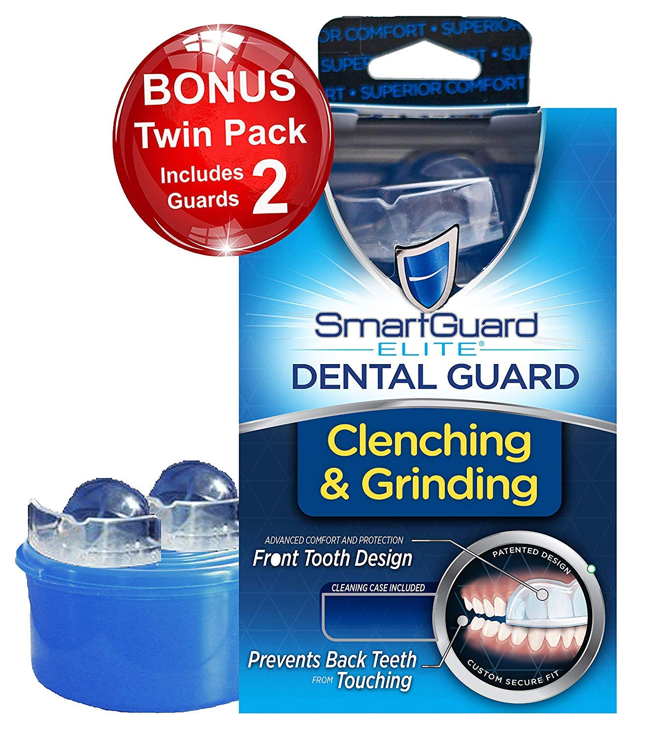 Dental Guard SMARTGUARD ELITE (2 Guards 1 Travel case) Front tooth Custom Anti Teeth Grinding Night Guard for Clenching - TMJ Dentist Designed - Bruxing Splint Mouth Protector For Relief of Symptoms by SmartGuard