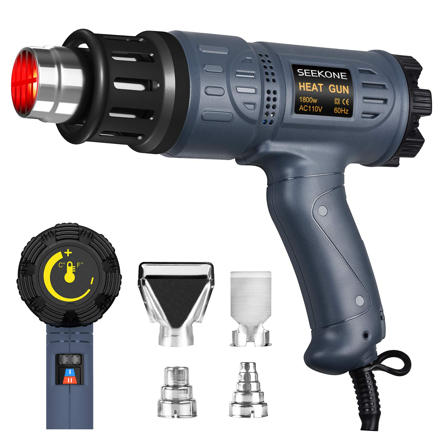 SEEKONE Heat Gun Kit 122℉~1202℉(50℃- 650℃) Variable Temperature Control by Adjustable Dial with Two Temp-settings, Four Nozzles for Shrink Wrapping, Crafts, Electronics, Removing Paint, Bending Pipes