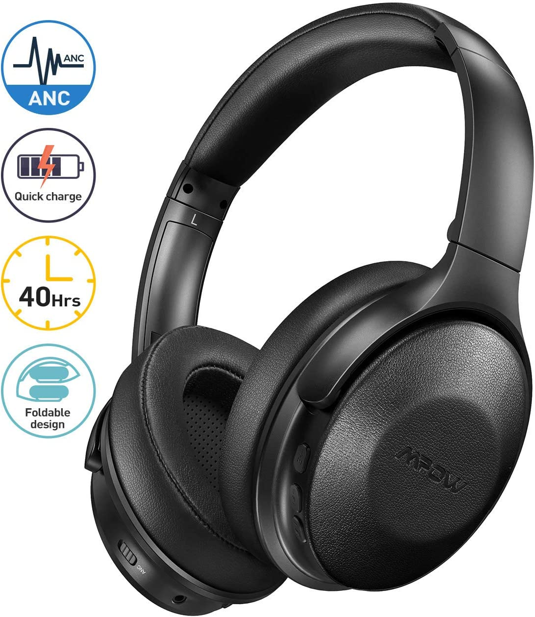 Mpow Active Noise Cancelling Headphones with Microphones, 2020 Version Bluetooth Headphones Over Ear with 40H Playtime, Quick Charge, Soft Protein Earpads, Deep Bass, for TV Travel Cellphone PC