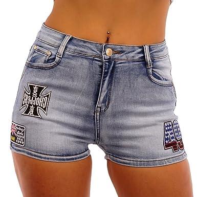 11229 Fashion4Young Damen Jeans Hotpants Shorts kurze Hose Hot Pants Panty  Stretch-Denim (L f95d91dcb8