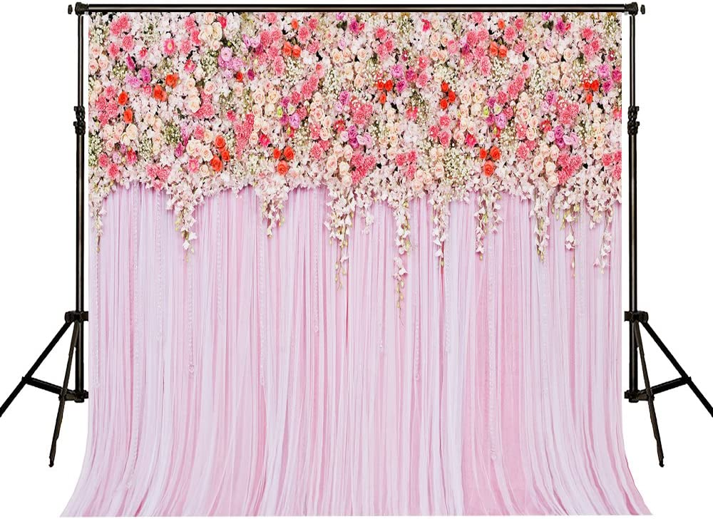 10X10FT Pink Floral Photography Backdrops Seamless Cloth Flower Wall Wedding Ceremony Decoration Photo Studio Background Props 71NCi3RlltLSL1000_