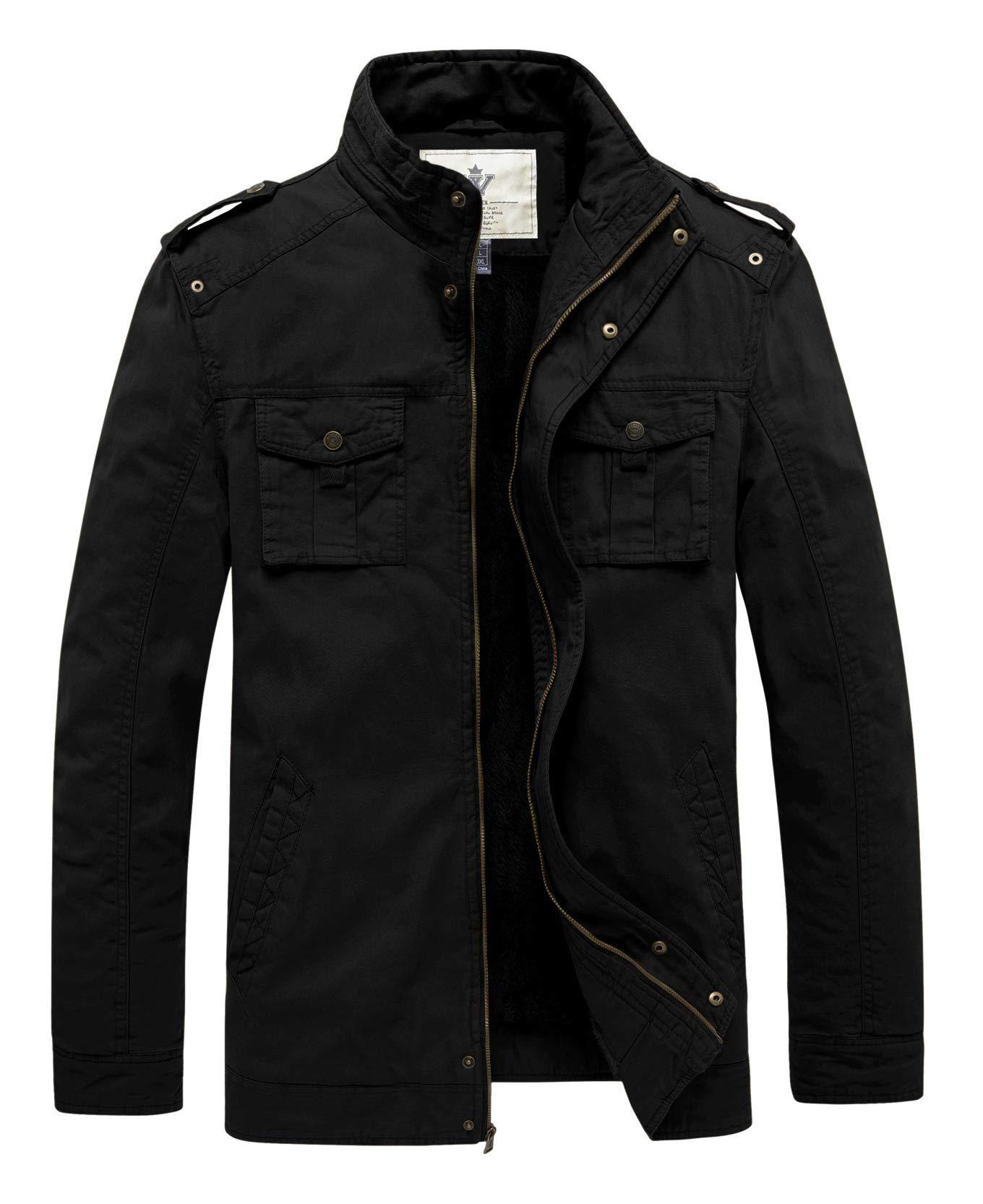 WenVen Men's Winter Warm Twill Cotton Stand Collar Thicken Jacket(Black,S) by WenVen