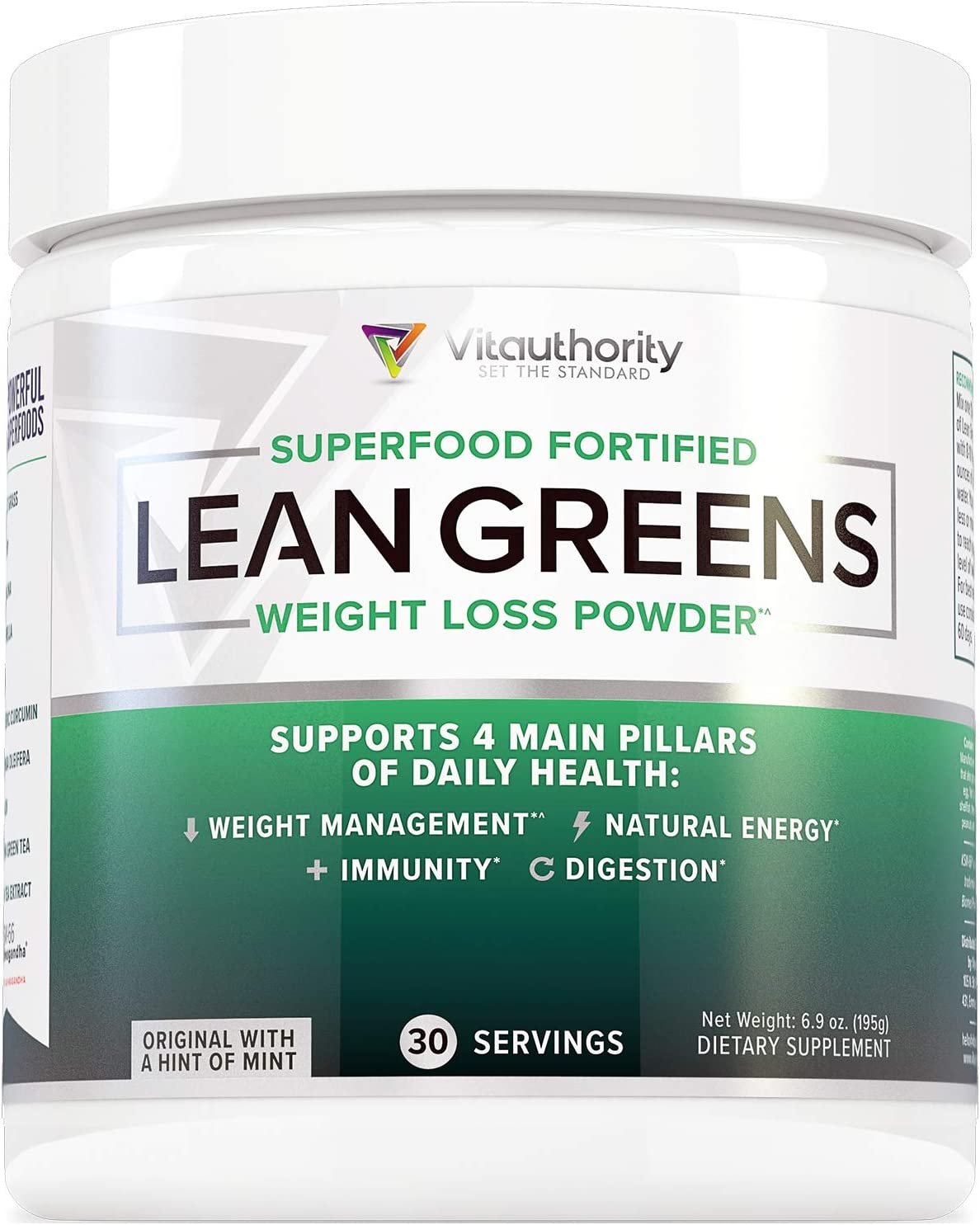 Lean Greens Superfood Fortified Weight Loss Powder: 11 Immunity Boosting All-Natural Greens Superfoods + Caffeine-Free Thermogenic Ingredients for Healthy Weight Management, 30 Servings
