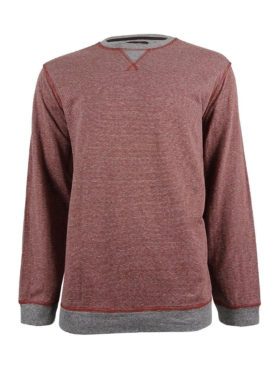 Tasso Elba Mens Striped Long Sleeves Crewneck Sweater Red XXL