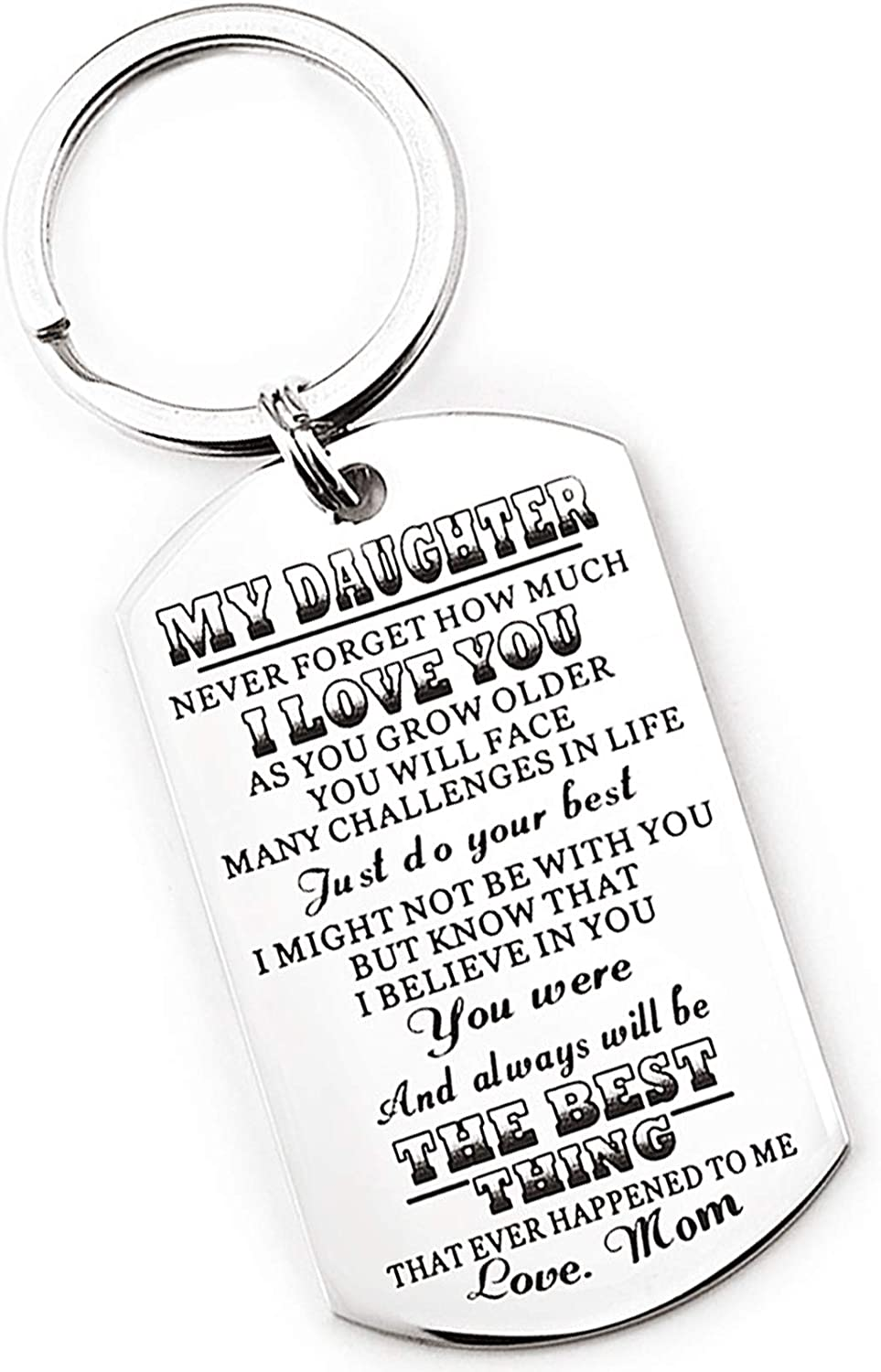 TTOVEN Amazing Daughter Keyring from Mom Mum Mother Remember I Love You Daughter Flower Girl Gifts Rainbow Keyring Christmas Birthday Wedding Jewelry Presents
