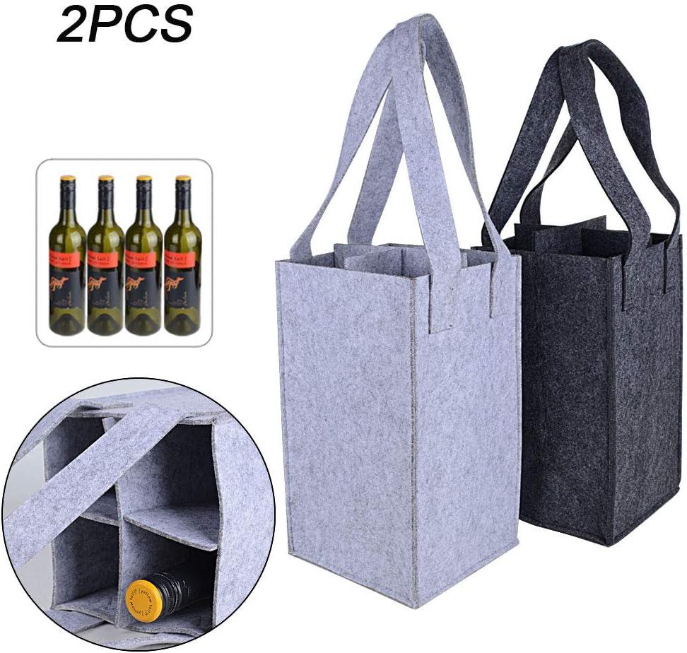 2 Pack Wine Carriers Tote Bag Reusable Washable Removable Divider Feltbag 4 Bottles for Travel Picnic