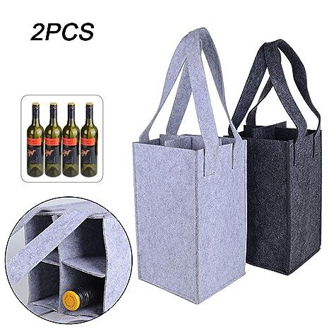 BUONDAC 2pcs Bolsas Fieltro Botellas de Vino Reutilizables Compra para 4 Botellas Gris Oscuro y Gris Claro 24 x 18 x 18cm