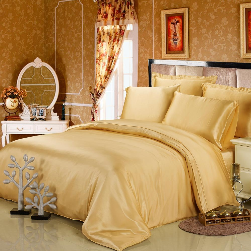 LILYSILK Gold Silk Duvet Cover for Queen Bed 19 Momme Pure Silk Seamless Charmeuse Comforter Covers