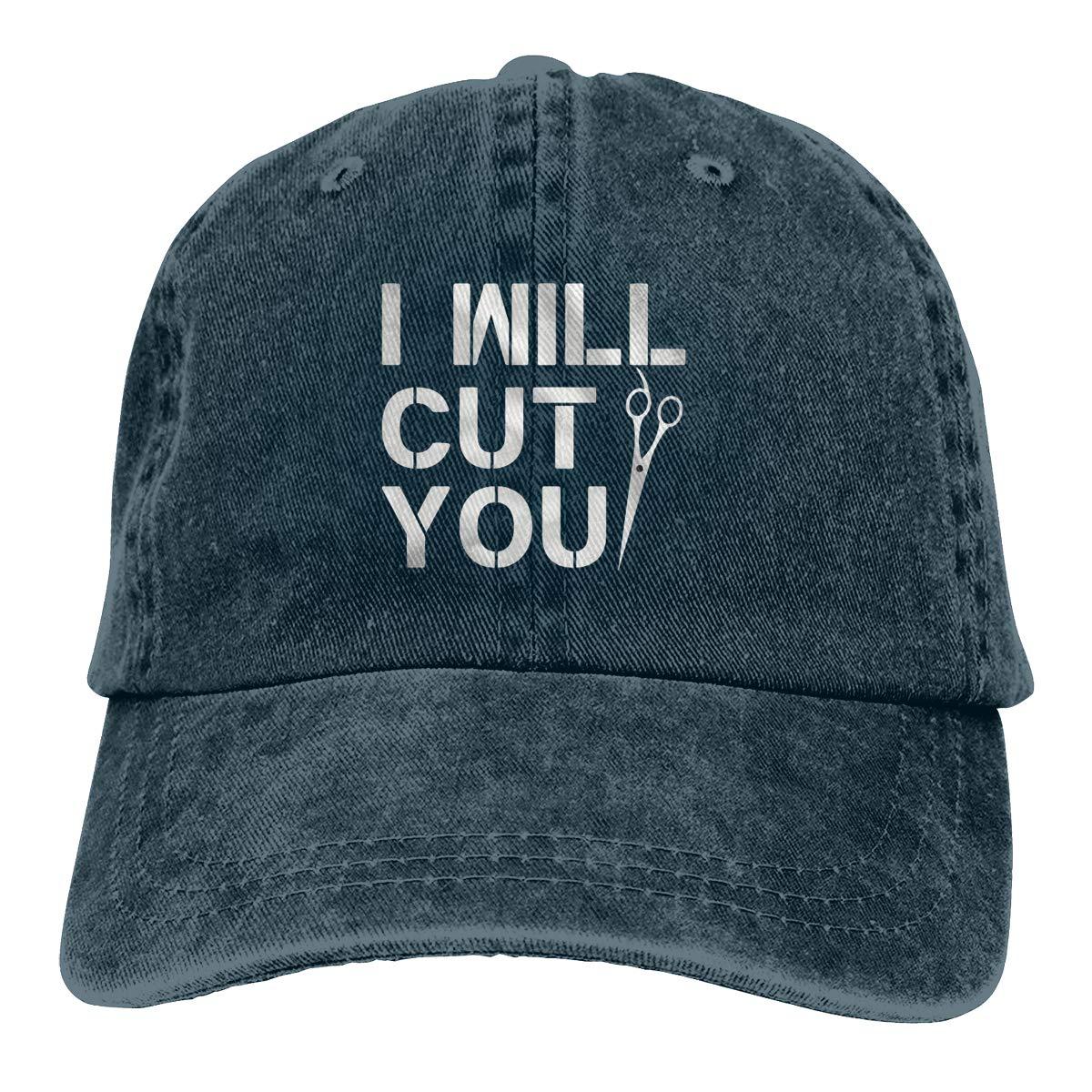 Sajfirlug I Will Cut You Funny Hair Dresser Fashion Adjustable Cowboy Cap Denim Hat for Women and Men
