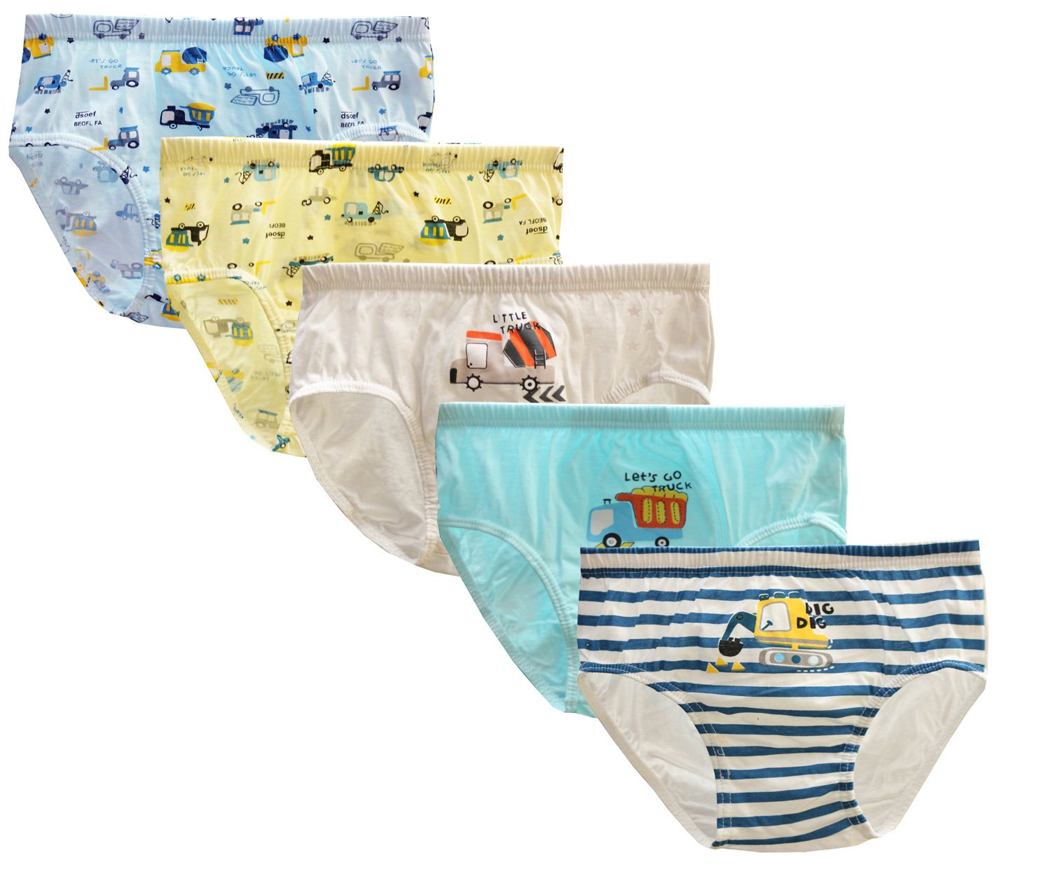 CHUNG Little Boys Toddlers Cotton Briefs Underwear 5 Pack, Dig Truck, 2-3Y
