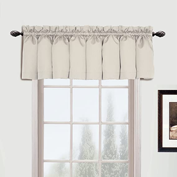 Amazon Com United Curtain Metro Woven Straight Valance 54 By 16 Inch Oyster Home Kitchen