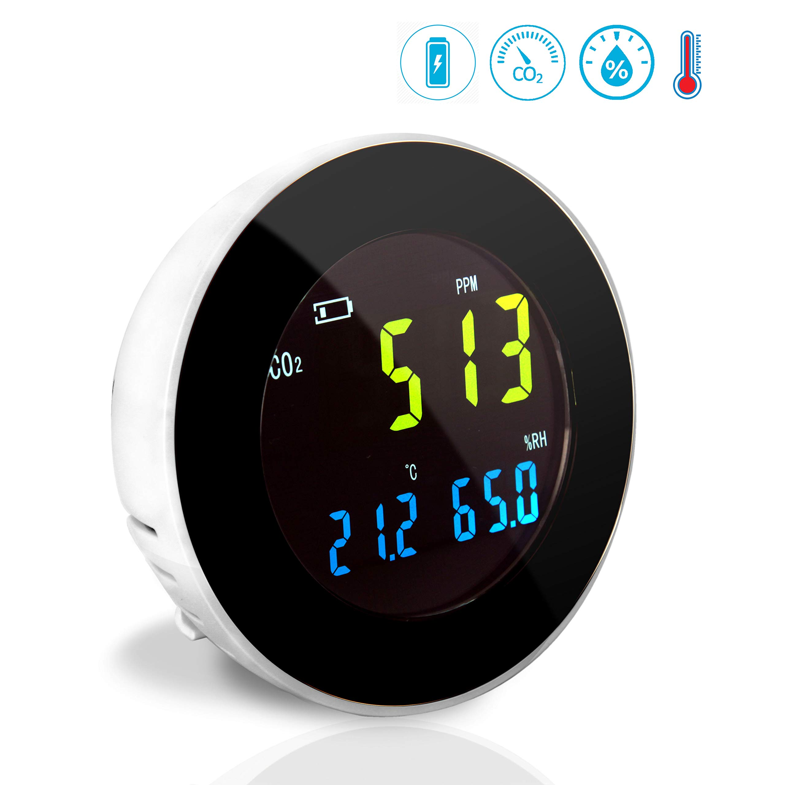 Smart Indoor Air Quality Monitor - Digital Hygrometer Thermometer Test Gauge, Air Tester for Home, Pollution Sensor Detector, Carbon Dioxide Meter, Temperature and Humidity Tester Kit - Pyle PCO2MT05