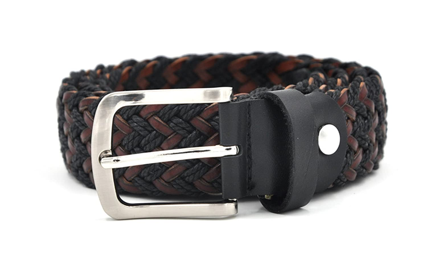 Canvas Woven Leather Belt With Wax Rope And German Leather Unisex Waist Belt