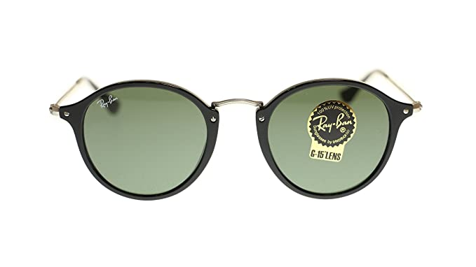 6a9e1a0426 Ray Ban Unisex Sunglasses RB2447 901 Black With Green Lens Round 49mm  Authentic