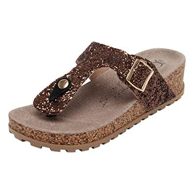 Catwalk Copper Leather Slip-on for Women's Fashion Sandals at amazon
