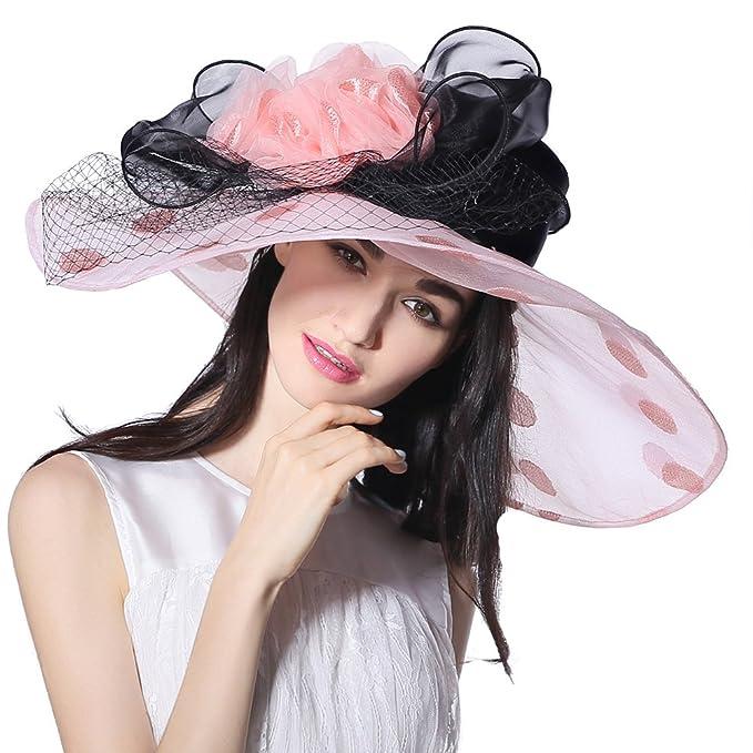 0b98d74e0ba June s Young Women Sun Hat Wide Brim Organza Fashion Summer Hat (Pink Black)  at Amazon Women s Clothing store