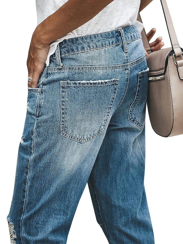 Amazon.com: chellysun Mujer Ripped envejecido novio jeans ...