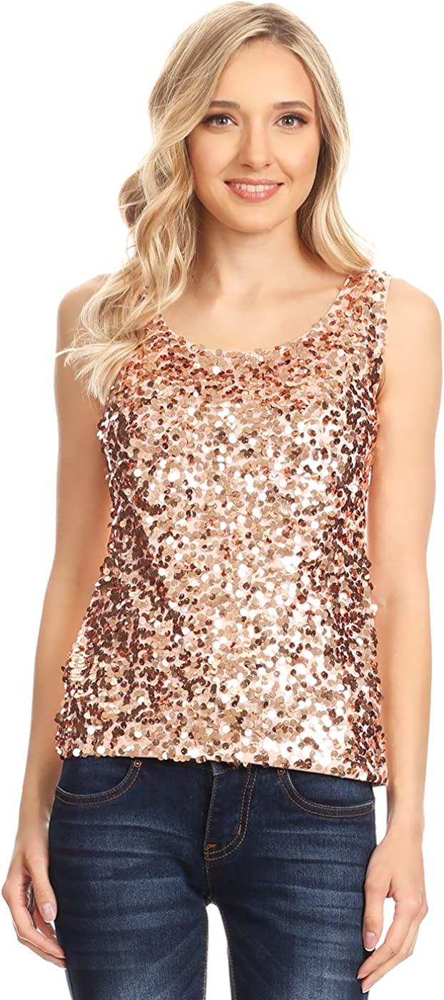 Womens Sequin Sleeveless Tank Tops Vest Ladies Party Sparkly Blouse Shirt Top HH
