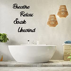 4 Pieces Farmhouse Bathroom Wall Decors Relax Soak Unwind Breathe Wooden Word Sign Hanging Decorative Cutout Word Sign Primitive Wall Arts Rustic Vintage Wooden Decorations for Home Bathroom, Black