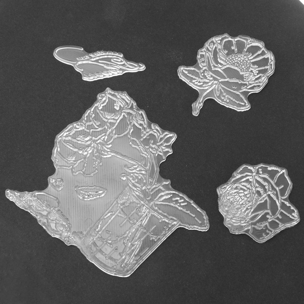 Flower Pattern MagiDeal Transparent Silicone Clear Rubber Stamp Sheet Cling Scrapbook DIY Craft