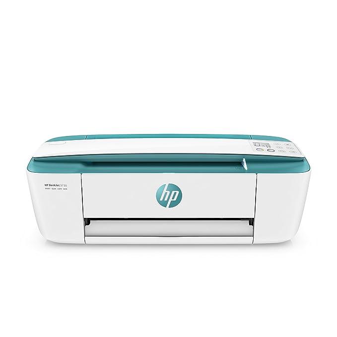 HP Deskjet 3735 – Impresora multifunción inalámbrica (Tinta, Wi-Fi, copiar, escanear, 1200 x 1200 PPP, Modo silencioso, Incluido 3 Meses de HP Instant Ink) Color Blanco y Verde