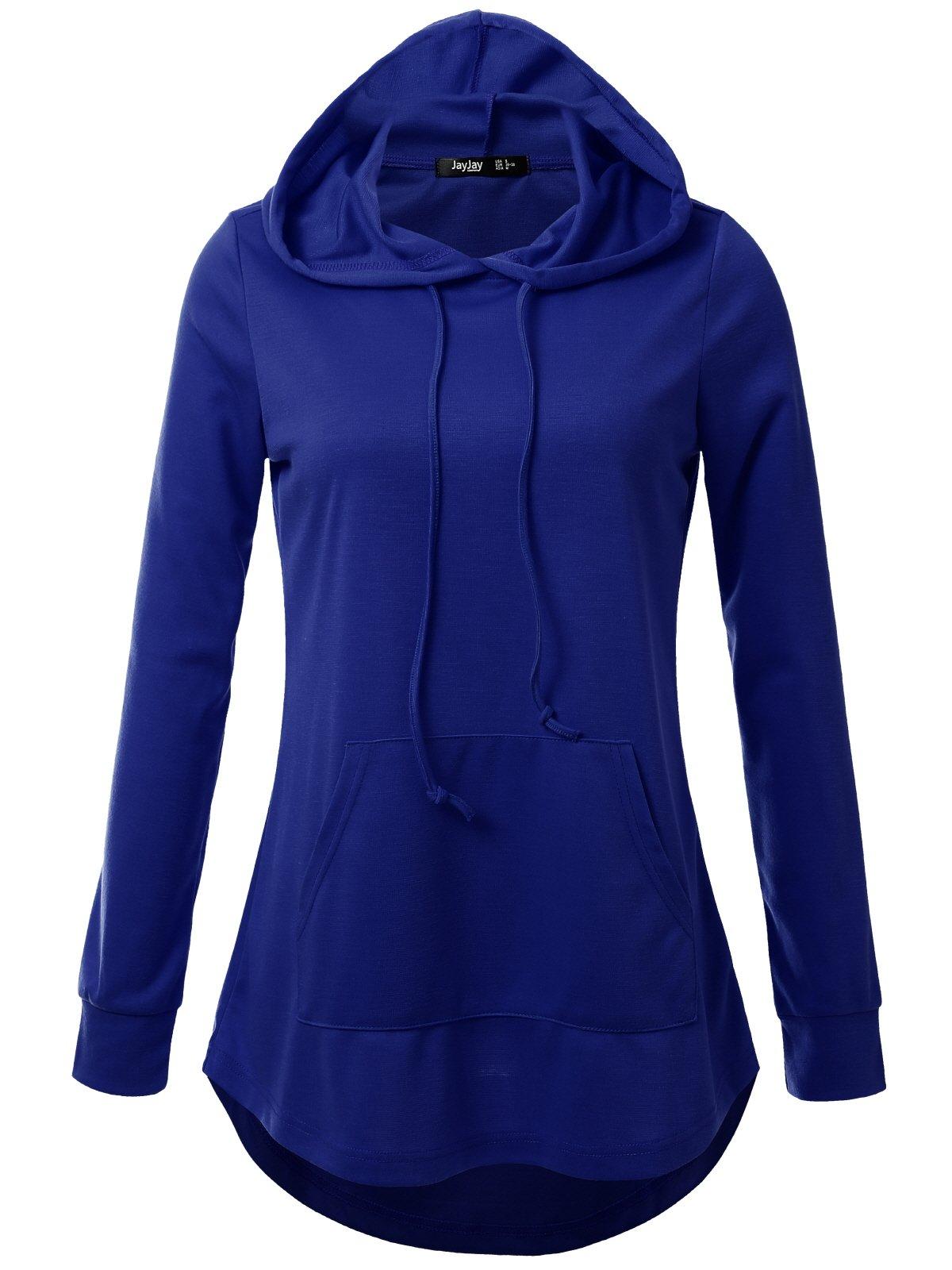 JayJay Women High Low Sweat Casual Long Sleeve Hoodie Lightweight Sweatshirt,Royalblue,XL