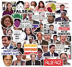 Pack of 50 The Office Stickers, Waterproof DIY Vinyl Laptop Stickers Pack with Michael, Dwight, Jim Funny Stickers for Laptops, Computers, Hydro Flasks Decals