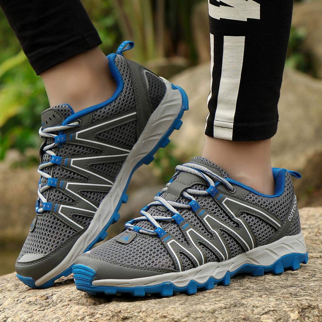 Hiking Sneakers Men,Mosunx Athletic 【Mesh Breathable Non-Slip】Lightweight Lace Up Outdoor Trail Walking Shoes Climbing Shoes (10 M US, Gray) by Mosunx Athletic (Image #5)