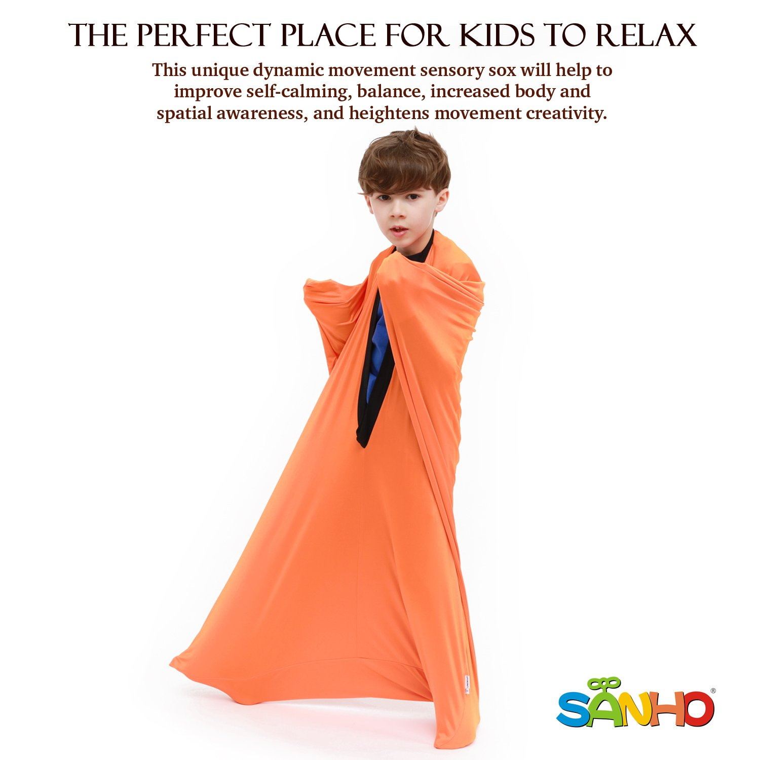 Sanho Yopo Dynamic Movement Sensory Sox, Medium,6-9 years old, 47''LX27''W Orange by Sanho Yopo (Image #2)