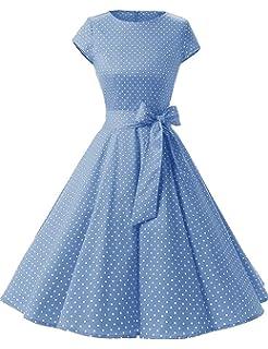 HUINI Vintage Kleid 50er Polka Dots Retro Swing Rockabilly Kleider  Cocktailkleider Partykleider Gürtel 9561ad0d77