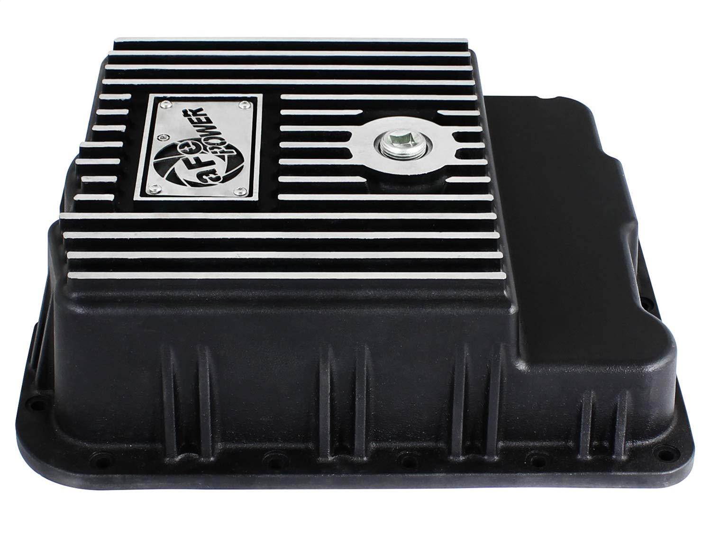 Black; Machined aFe Power 46-70242 GM Trucks Transmission Pan