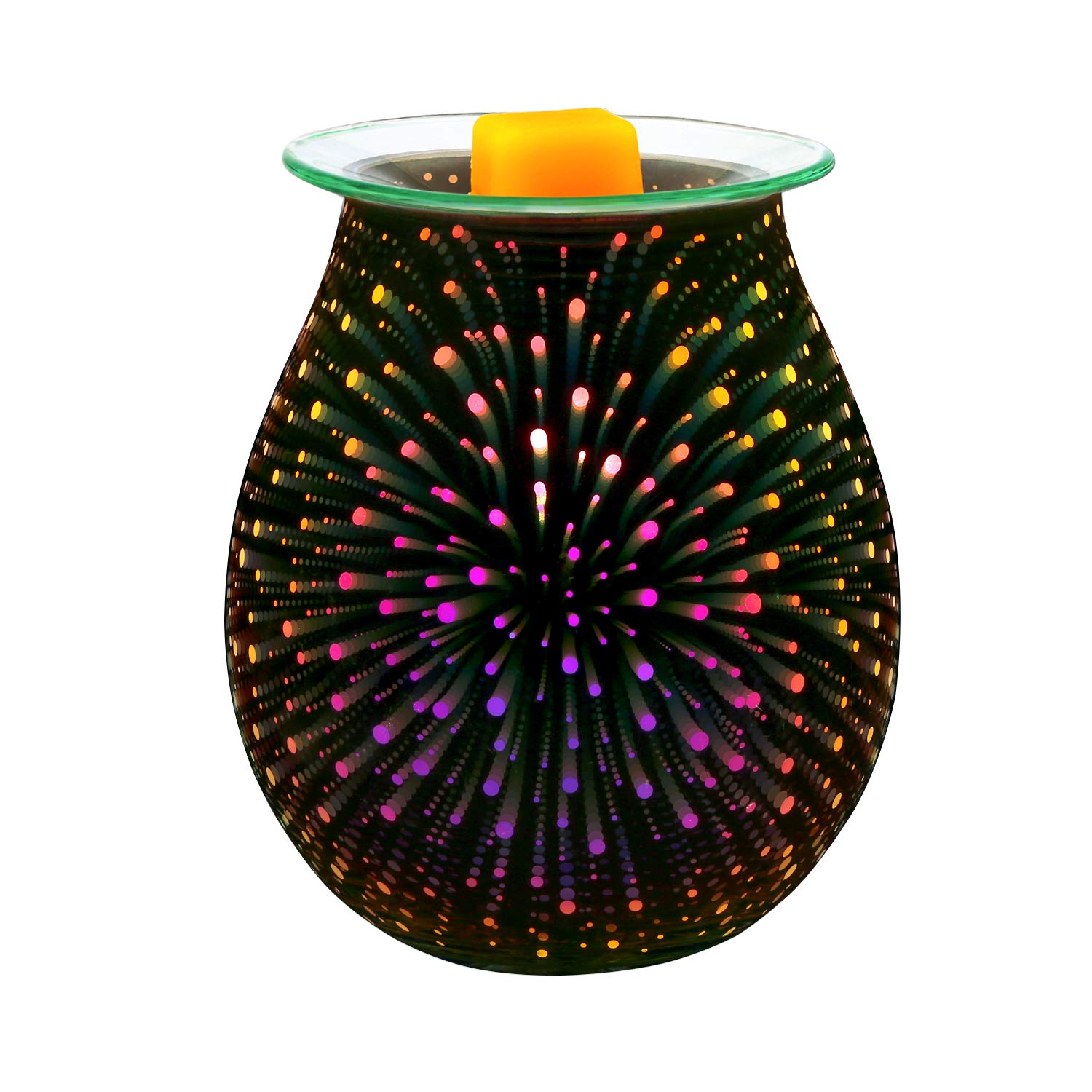 Electric Oil Warmer COOSA 3D Effect Starburst Fireworks Glass Wax Tart Burner Fragrance Candle Warmer Incense Oil Night Light Aroma Decorative Lamp for Gifts, Decor for Home Office by COOSA (Image #1)