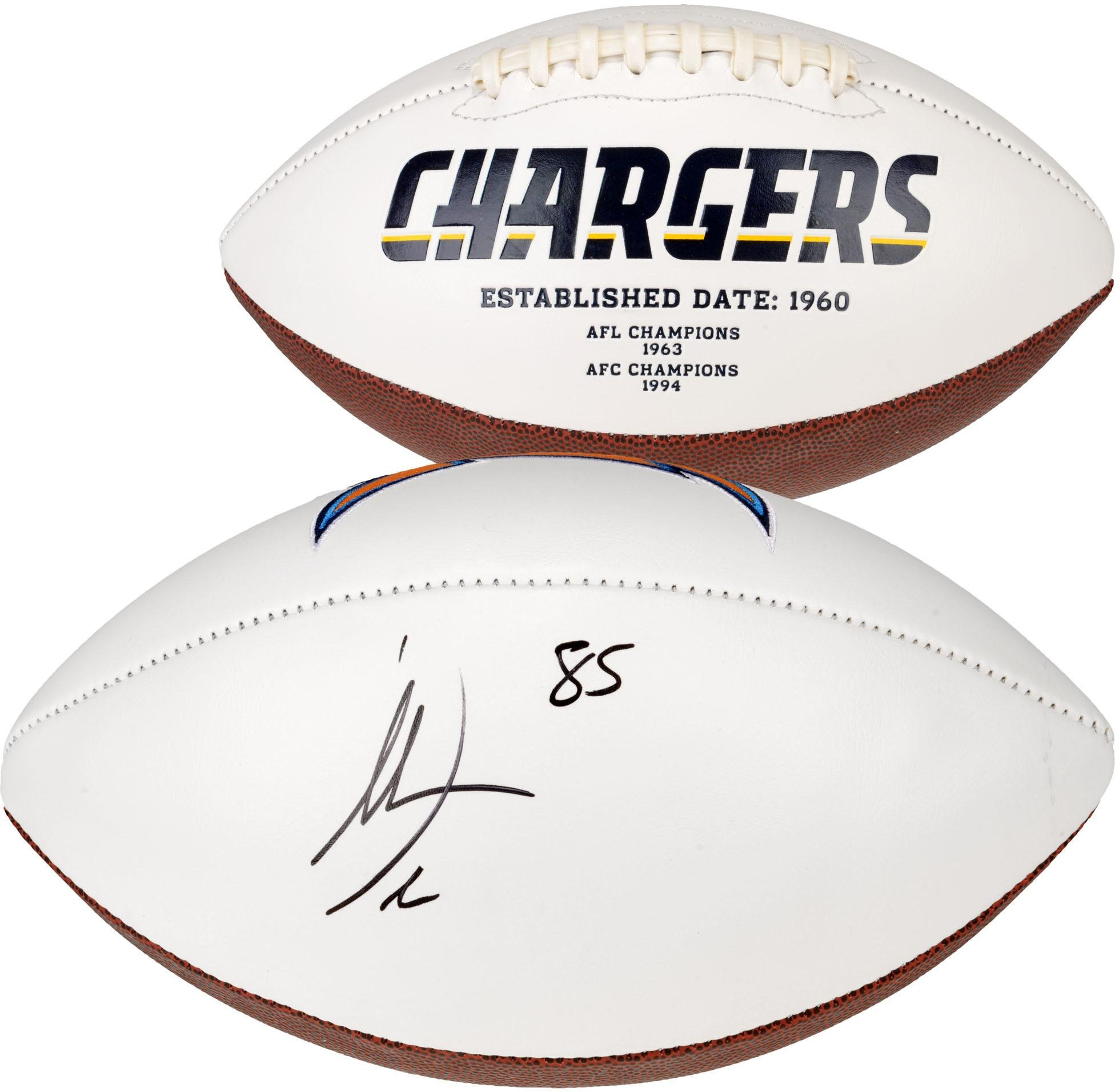 Antonio Gates San Diego Chargers Autographed White Panel Football Fanatics Authentic Certified Autographed Footballs