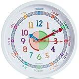 Time Teacher Horloge murale pour enfant avec mécanisme à quartz balayage non tic-tac Silencieux–Facile à lire et d'apprendre à lire le temps–Diamètre 30cm–Blanc